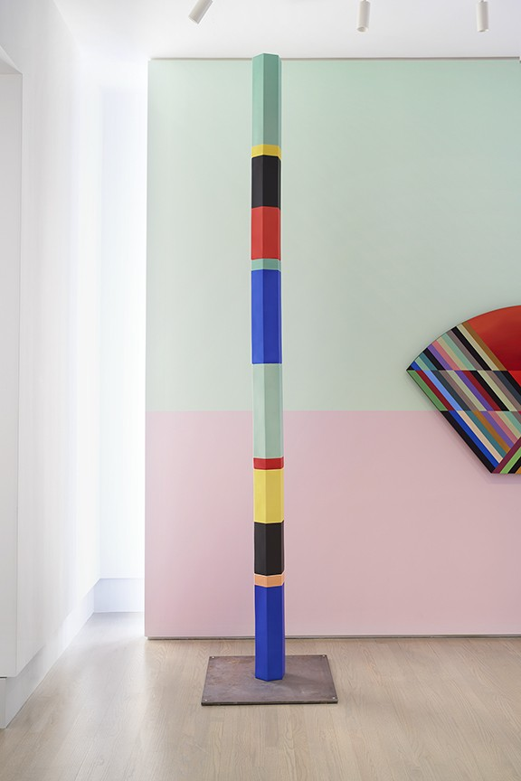 Polychrome Column 10A_01, 2019. Porcelain with steel structure and base. 10 ft × 7 inches (diameter).
